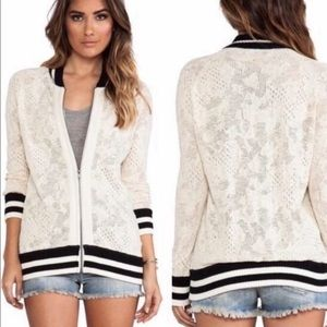 Free People Lace Open Knit Zip-up Jacket Cardigan